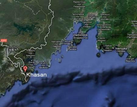 Khasan, Russia, map