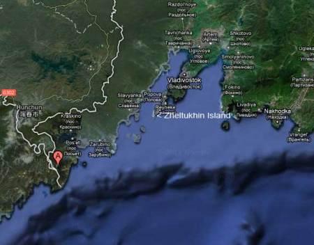 Zheltukhin island, Russia, map