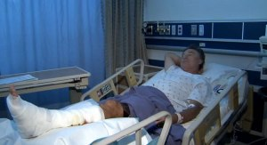 Thomas Floyd Kennedy recovers in a Maui hopsital after being bitten by shark while snorkelling