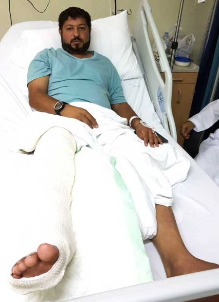 Ali Mohammad Hamad Al Beloushi in Khor Fakkan hospital after shark attack